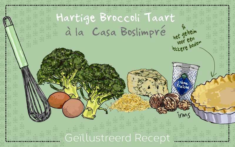 Hartige taart met broccoli, een geïllustreerd recept als visuele content.