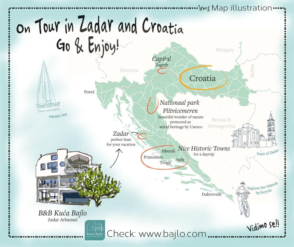 kaart van kroatie