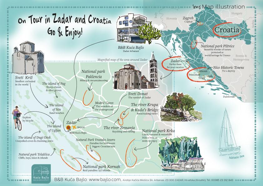 kaart van bezienswaardigheden Zadar Kroatie
