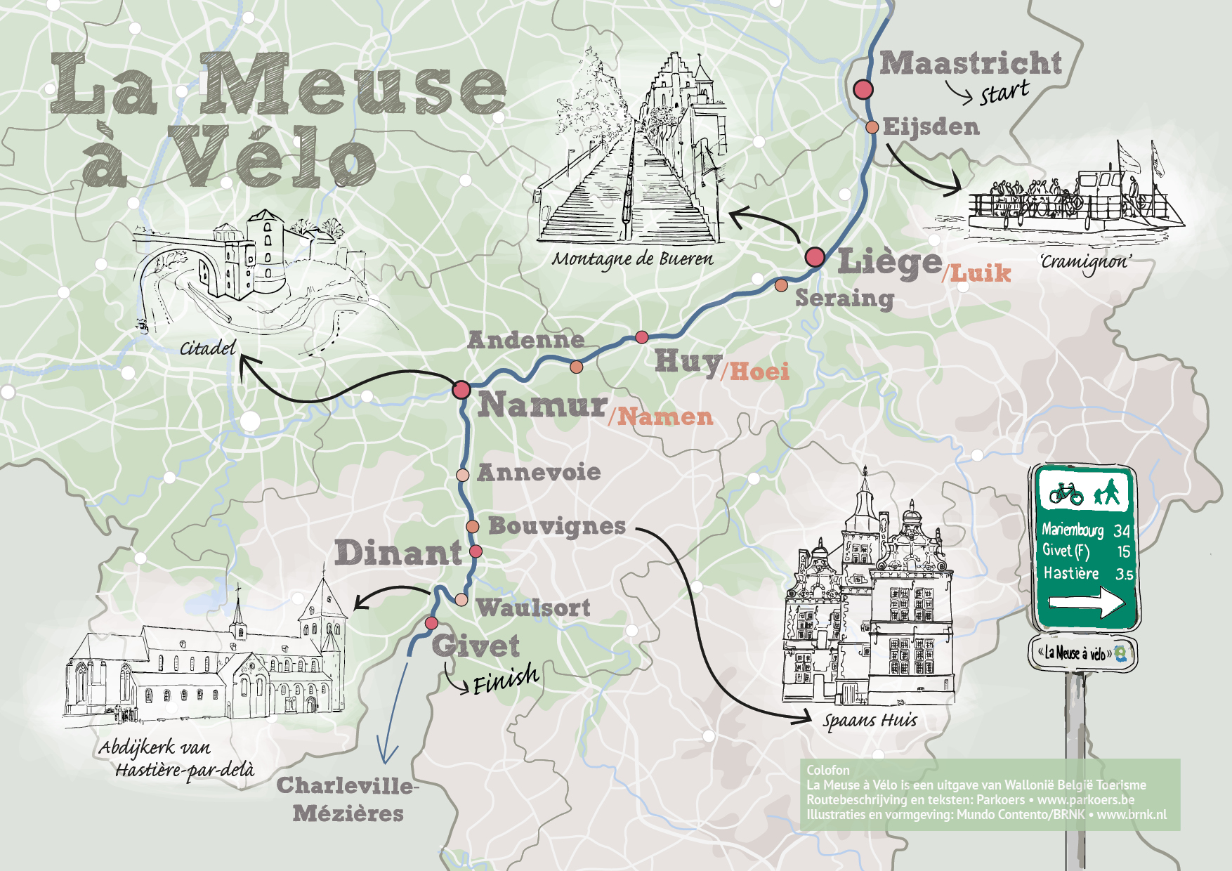 fietsroute kaart Maas Wallonie Belgie Toerisme
