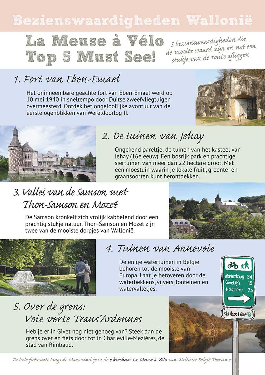 lijst van bezienswaardigheden Wallonië, fietsroute langs de Maas