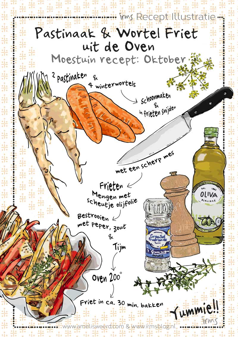 pastinaak & wortel friet uit de oven van irmsblog
