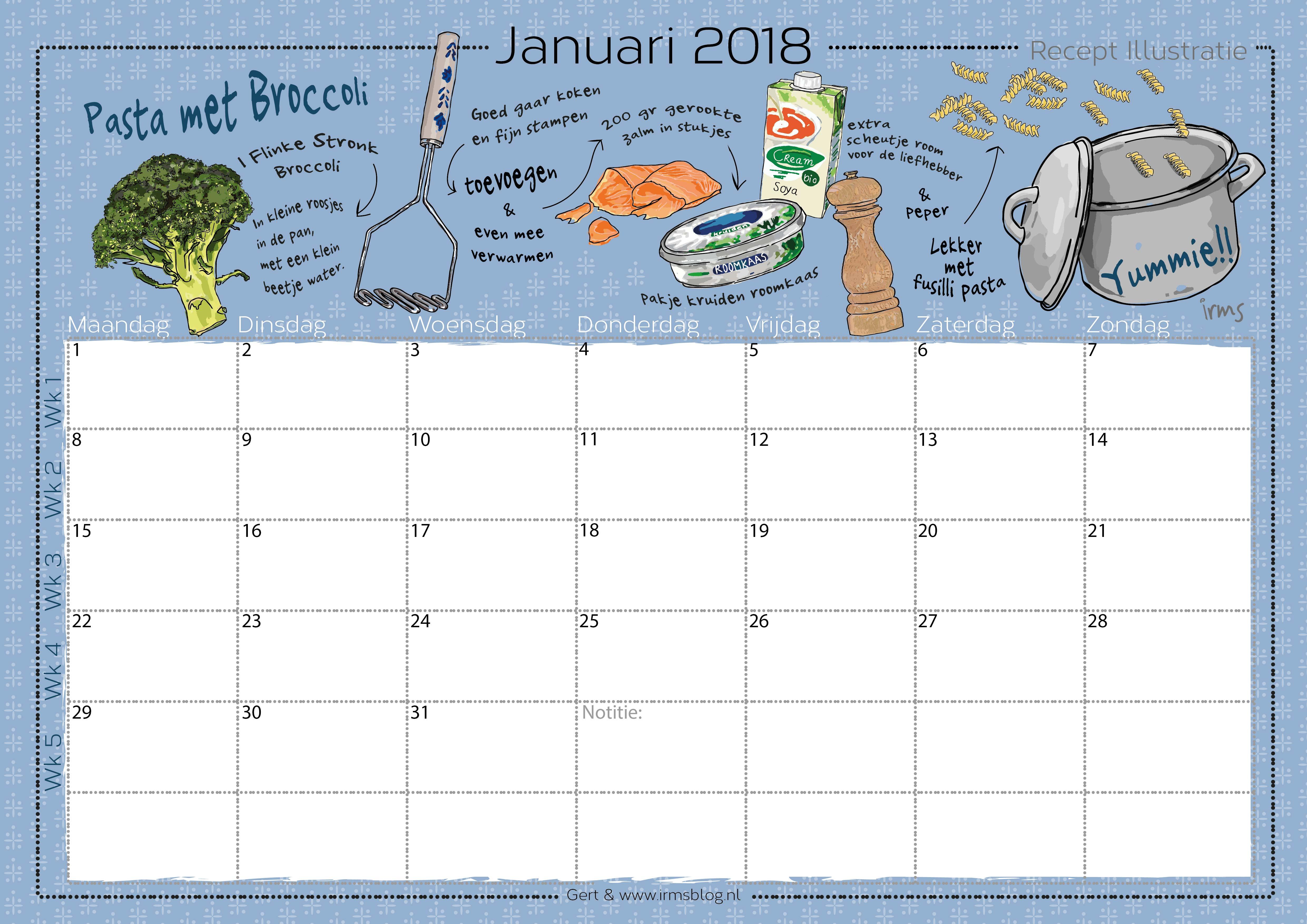 receptenkalender 2018 irmsblog