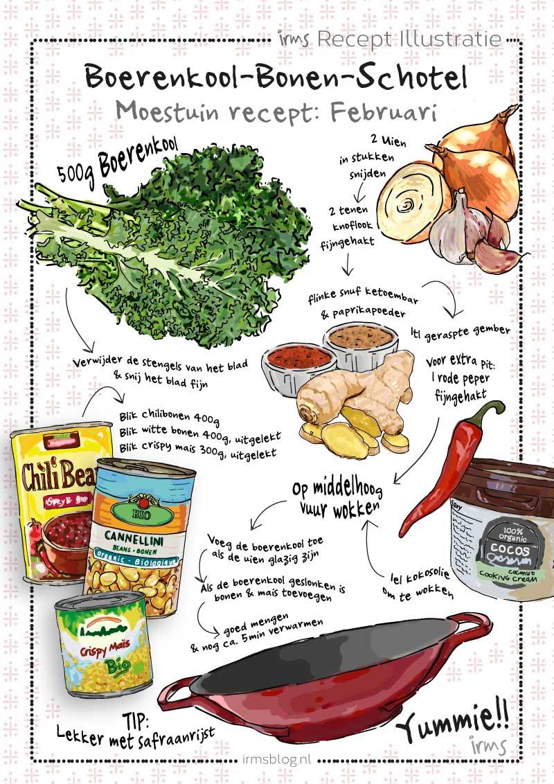 boerenkool bonen schotel irms recept illustratie
