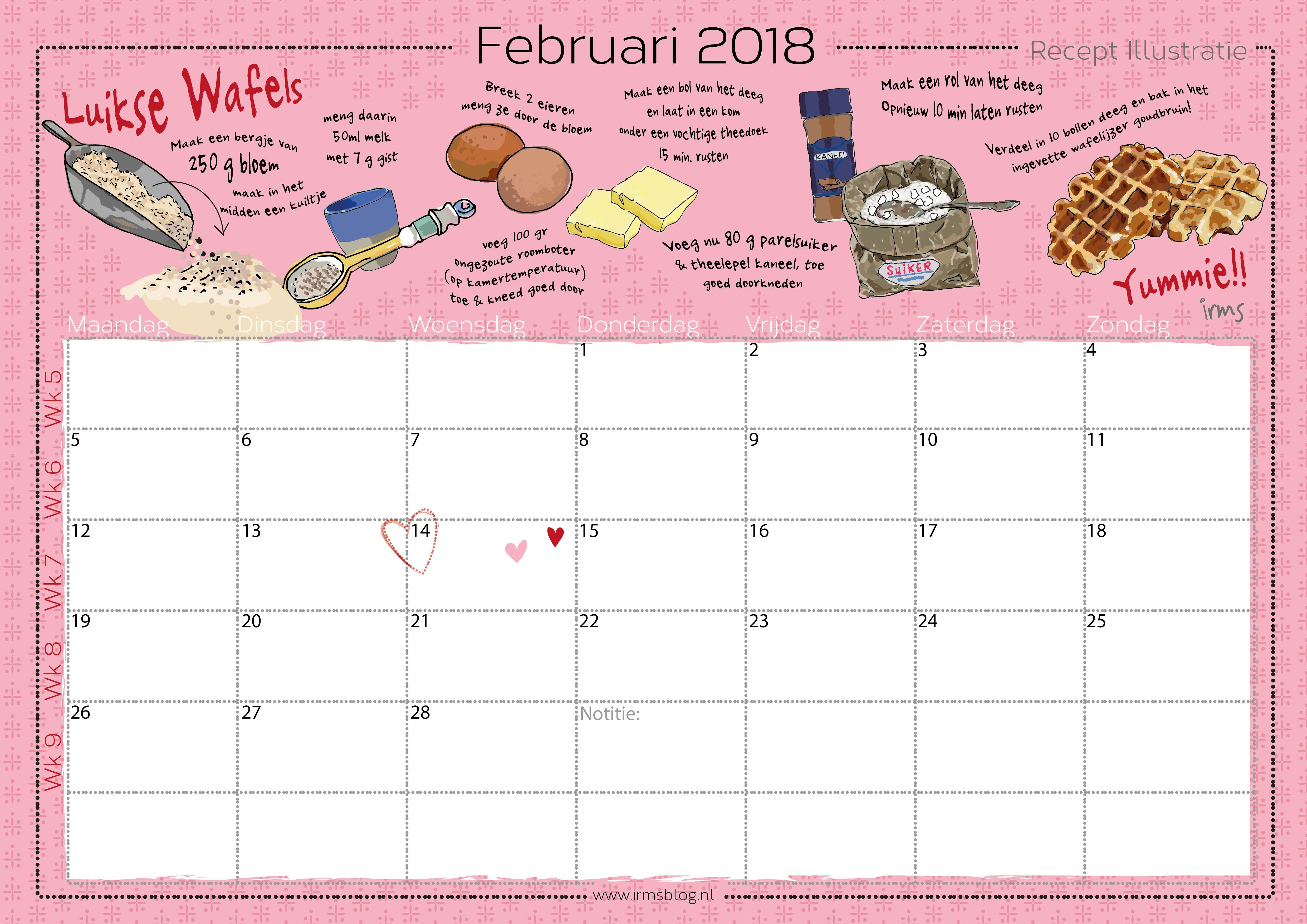 recepten kalender irmsblog februari