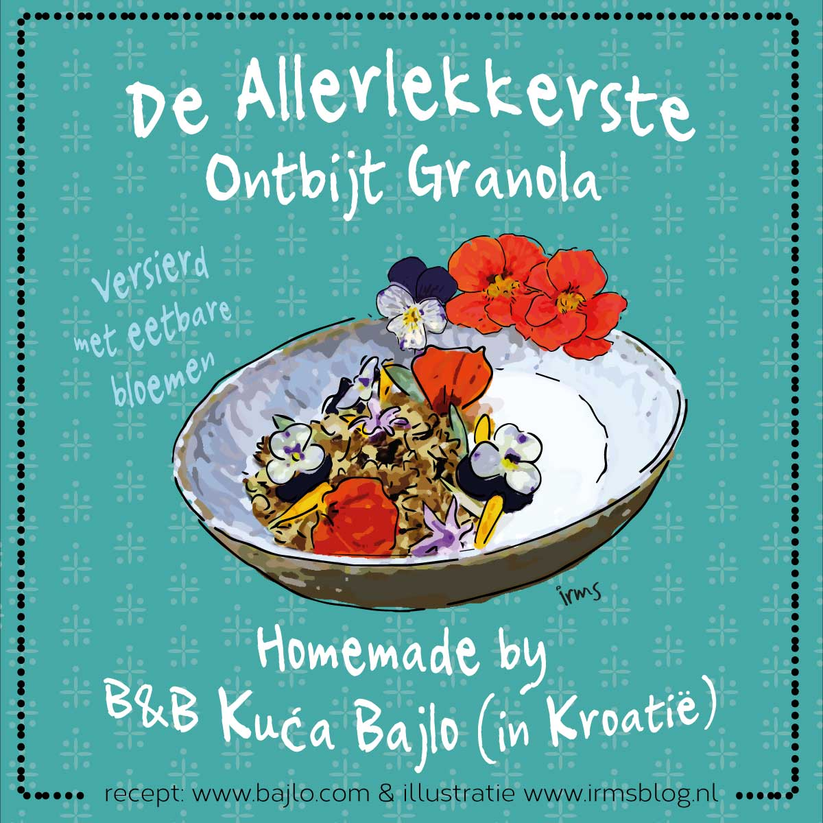 illustratie ontbijt granola B&B Kuca Bajlo van irmsblog