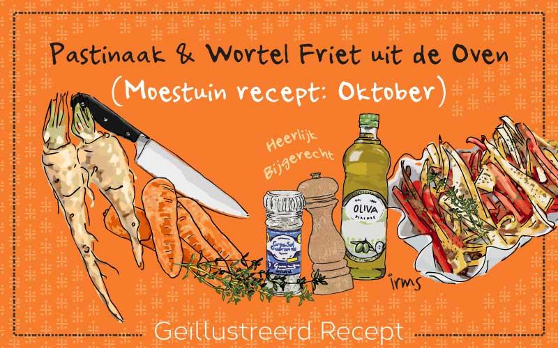 Pastinaak & wortel friet uit de oven met recept illustratie.