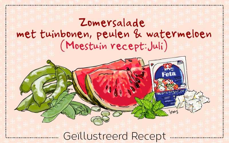 Zomersalade met tuinbonen en watermeloen van irms