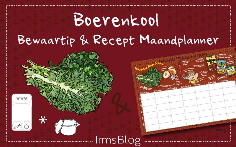Boerenkool bewaartip & recept maandplanner