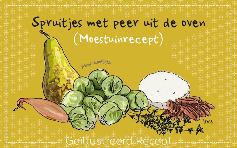 Spruitjes met peer uit de oven, moestuinrecept illustratie irms